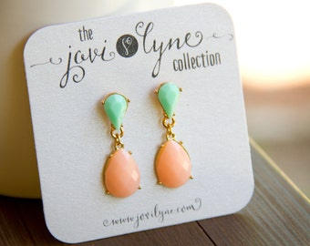 Spectacular Peach and Mint Dangle Earrings set in Gold