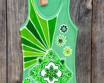 Mandala flower womens yoga top hand dyed green Tops & Tees, sleeveless top, batik clothing, womens tank top, Womens Clothing / Yoga Clothing