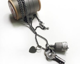 Antique Sterling Thimble Bell Thimbell Pearl Heart Charm Skeleton Key Sewing Quilting Necklace 34 inch Long Sterling Cable Chain