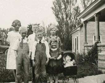 vintage photo 1915 Well Dressed Farm Children Portrait w Doll Buggy Idaho