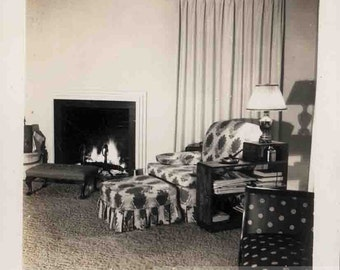 Vintage photo 1950 HAve a Seat By the Fire Interior Mid Century furniture Room