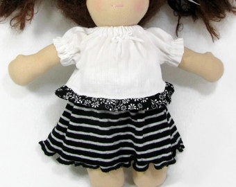 10 inch Waldorf doll top and skirt, pink and black outfit, waldorf clothing