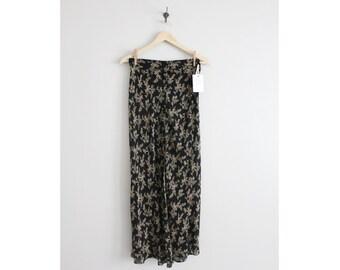 floral chiffon skirt / silk skirt / black floral skirt