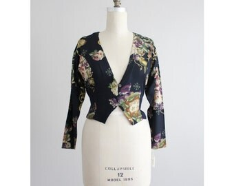 cropped floral jacket / cropped jacket / floral blouse