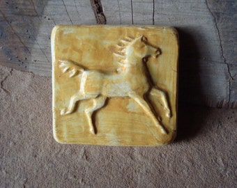 Running Palomino Yellow Horse Ceramic Clay Sculptural Focal Art Tile Handmade 3 x 3
