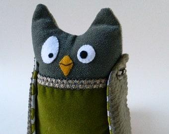 Owl Plush Doll, Decorative Owl Doll, Handmade one of a kind owl art doll, children owl doll, fabric owl kids doll, collectible owl art doll