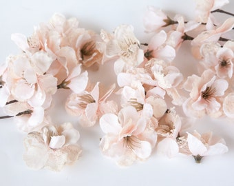 15 Vintage Blush Pink Lace Blossoms - Artificial Flowers - ITEM 0868