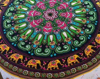 Bohemian Hippie Tapestry Fabric - Elephant Mandala Pattern