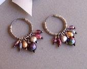Beaded Hoop Earrings, Oxidized Sterling Silver, Boho Earrings, Wire Wrapped Earrings, One Of A Kind, Gifts for Her