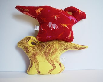 Hand-printed Stuffed Parasaurolophus Dinosaur - Handmade Lino Block Printed Well-Loved Duck-Billed Hadrosaur Stuffie with Head Crest