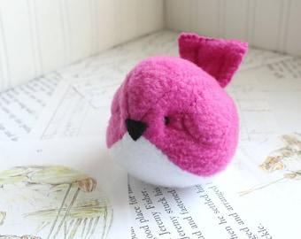 Dark Pink Plush Bird Stuffed Animal Childrens Handmade Fleece Bird