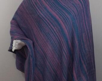 Handmade Knit Poncho - Pink and Blue Random Stripes