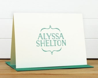 Personalized Stationery Set / Personalized Stationary Set - CROWN Custom Personalized Note Card Set - Monogram Modern Simple