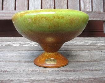 Haeger pedestal vase green brown lovely 3897