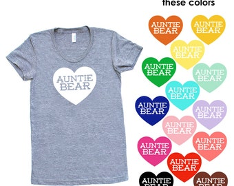 Auntie Bear with Heart TriBlend Heather Grey TShirt - Family Photos, Gift for Her, Announcement, Expecting, New Baby, New Aunt, Sister