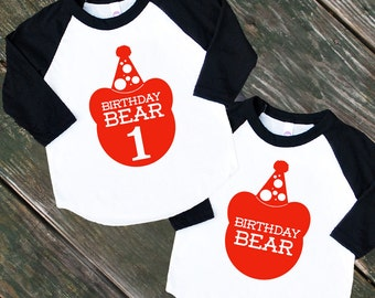 Size 2 Birthday Bear Baby Black Raglan Sleeve Baseball TShirt with Red Print - Infant and Kids Sizes - First Birthday Party Outfit Gift