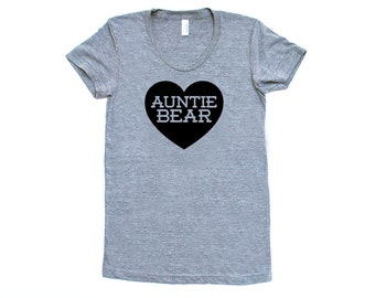 Auntie Bear with Heart TriBlend Heather Grey with Black TShirt - Family Photos, Gift for Her, Announcement, Expecting, New Baby, New Aunt