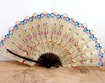 Vintage Indonesian Vellum Fan. Brisé Hand Fan, Java. Costumes, Theater, Collectibles. Asian Antique Stick Fan. Hand Painted Gilt Fan.