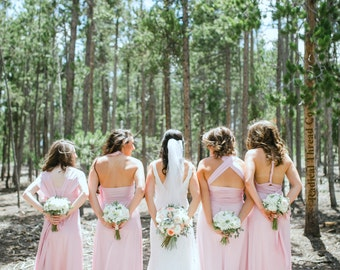 Upscale Infinity Dresses (compare to twobirds) but any bridesmaids size & length blush dusty pink rosegold glam deco rustic boho vintage