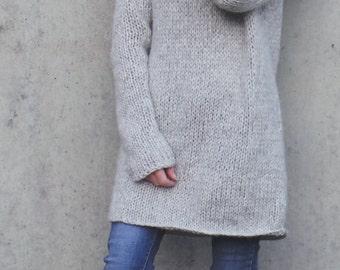 Gray sweater dress, women's knit dress, long sweater, alpaca mix sweater, long sweater, slouchy sweater