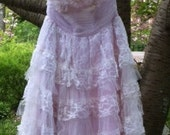 RESERVED for Jessica second installment for Lavender  lace dress  crinoline prom  1950s  vintage  xs small  by vintage opulence on Etsy