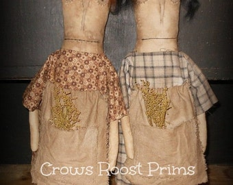 Doll Primitive prairie MAGILacutty 109e Crows Roost Prims epattern  SALE  immediate download