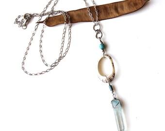 Blue Quartz and Shell Necklace (P1815)