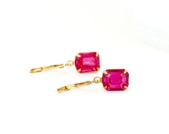Pink Crystal Earrings - Pink Glass Earrings - Bright Pink Earrings - Vintage Jewels - Leverback Earrings - Feminine Earrings - Gift For her