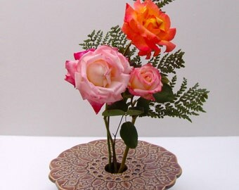 Handmade Ceramic Vase . Wheel-Thrown & Hand-Built Pottery Ikebana Flower Arranger . Pin Frog Vase