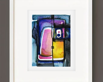 "Abstract Watercolor Painting, Spiritual Art, Original Minimalist Colorful, blue, yellow, pink, ""Magic Window 6""  Kathy Morton Stanion EBSQ"