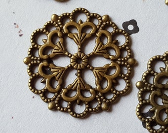 Antiqued Brass Filigree Findings Connectors 29mm (6)