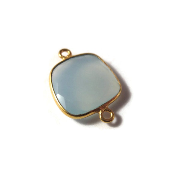 One Blue Gemstone Pendant, Light Blue Chalcedony Gemstone Charm, Gold Plated Bezel, 21mm x 15mm (C-Ch1f)