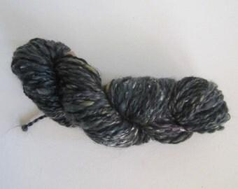 Black Mohair/Bombyx Tensel/Bombyx Silk/Silk noil blend handspun yarn 105 yards
