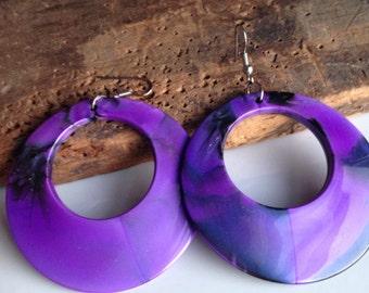 Etsy, Etsy Jewelry, Plastic Earrings, Purple Earrings, Purple Hoops, 80's Hoops, 1980's Earrings, Plastic and Base Metal, Kitschy Earrings