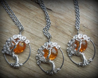 Amber Sun In a Tree Necklace Sterling Silver