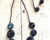 Indigo Kasuri Textile Fabric Dot Necklace