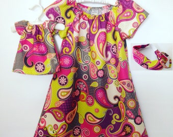 18 in Doll and Girl Matching Clothes - Peasant Dress and Headband 4pc Outfit - Purple Pink Gray - Paisley