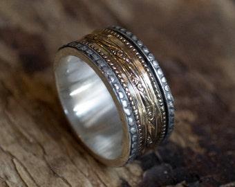 Sterling silver ring, silver gold ring, unisex ring, wedding ring, wedding band, unisex band, spinner Ring, meditation ring - Crush R2076