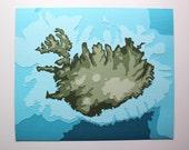 Iceland w/ Topography - original 8 x 10 papercut art
