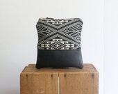 Black Leather Zipper Pouch. Tapestry Bag. Cosmetic Bag. Best Friend Gift. Purse Organizer.  Gift Under 50.