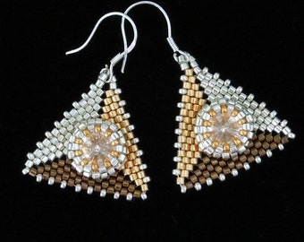 Seed Bead Earrings, Peyote Earrings, Pyramid Earrings, Evening Jewelry, Evening Earrings, Beaded Earrings, Wedding, Drop Earrings