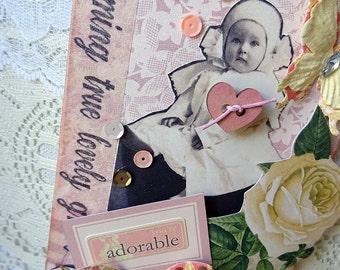 ADORABLE - pink baby - mixed media tag - ornament - NO318