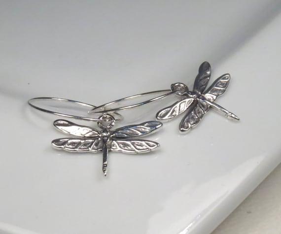 Silver jewelry, Silver dragonfly earrings, Sterling silver hoop earrings, Dragonfly jewelry