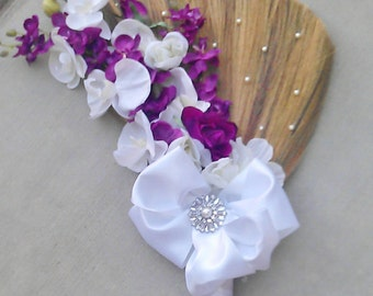 Wedding Broom-Jumping Broom- 'The FeFe'- Big Bow Broom-Custom Made in your Color Choices