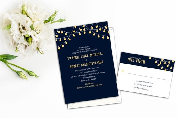 Classy Party Lights Wedding Invitations