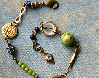 Bohemian vintage style charm bracelet/boho jewelry. tiedupmemories