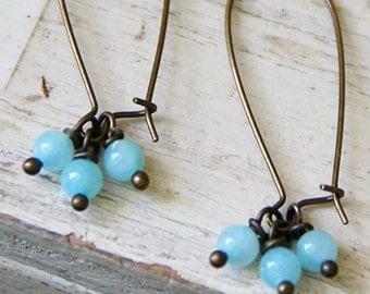 Minimalist earrings/ pale blue earrings/ jade gemstone dangle earrings/gemstone earrings/boho jewelry. Tiedupmemories