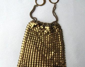 Mesh Bag Gold Purse Old Hollywood Glamour Evening Bag Vintage 1940s Drawstring Purse Reticule