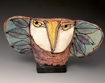 "Clay Owl sculpture / Owl Figurine, whimsical owl art, ceramic owl art, ""we are born of love; LOVE is the Mother of us all""......Rumi"