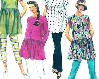 Moms Modern Maternity Summer tunic tops pull on pants 90s sewing pattern McCalls 5447 Easy Sz 12 to 16 UNCUT
